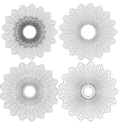 Set of 4 guilloche pattern rosette vector