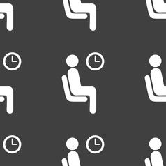 Waiting icon sign seamless pattern on a gray vector