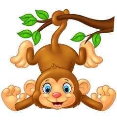 Cartoon cute monkey hanging on tree branch vector