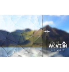 Camping logo label on mountain blurred landscape vector