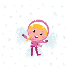 little cute pink child making angel in snow vector image