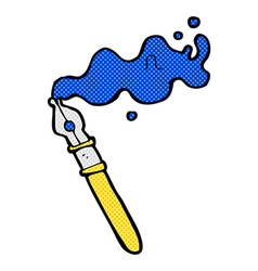 Comic cartoon fountain pen vector
