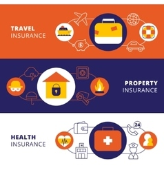 Insurance policy horizontal flat banners set vector