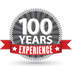 100 years experience retro label with red ribbon vector