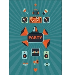 Vintage music party poster for a night club vector