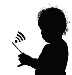 Child with mobile phone vector