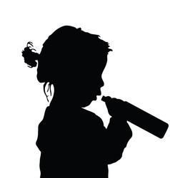 Child with bottle silhouette vector