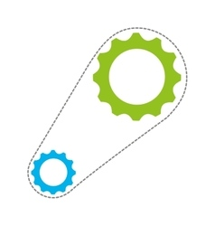Gears with chain isolated icon design vector