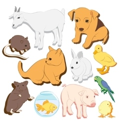 Animals pets colorful icons set vector