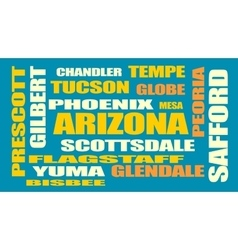 arizona state cities list vector image vector image