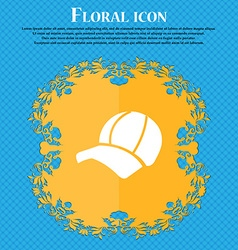 Ball cap icon sign Floral flat design on a blue vector image