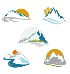 Blue mountains emblem set vector image vector image
