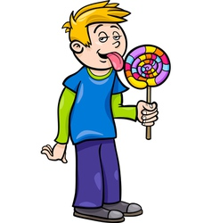 boy with lollipop cartoon vector image