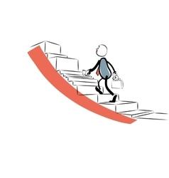 Businessman goes up the career ladder vector