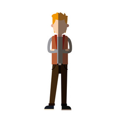 character man standing wear vest style image vector image