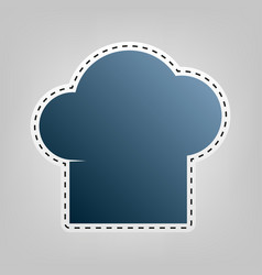 Chef cap sign blue icon with outline for vector