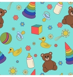 Children seamless pattern vector image
