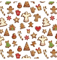 Christmas gingerbread pattern vector