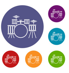 Drum kit icons set vector