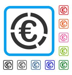 Euro financial diagram framed icon vector