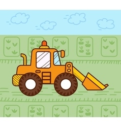 Excavator works vector