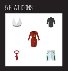 Flat icon dress set of uniform brasserie trunks vector