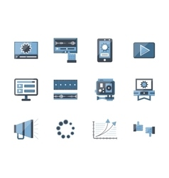 Flat style video blog icons collection vector image