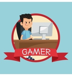 Gamer computer online desk banner blue backgroung vector