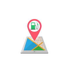 Gas station map pointer flat icon mobile gps vector