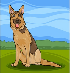 german shepherd dog cartoon vector image vector image