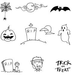 Halloween doodle element art vector