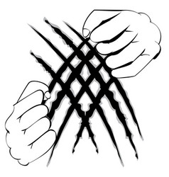 hands tearing surface vector image