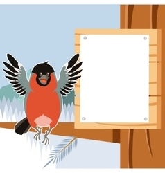 Happy bullfinch on the tree winter flat background vector