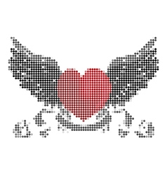 Heart with wings and ribbon vector image vector image