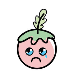 Kawaii crying tomato vegetable icon vector