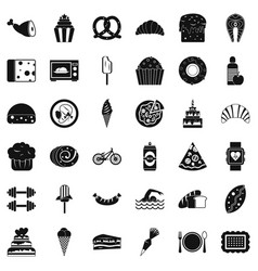 Many calories icons set simple style vector