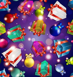 New year pattern with gifts and Christmas tree vector image