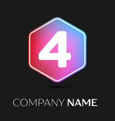 Number four symbol in colorful hexagonal vector