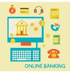 Online banking flat design ico vector