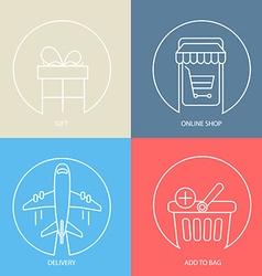 Outline e-commerce web icon set vector image vector image