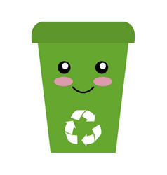 Recycle bin character isolated icon vector