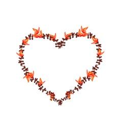 Red bastard teak flowers in a heart shape vector