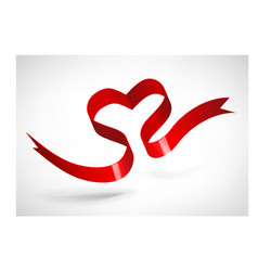 Red heart ribbon vector