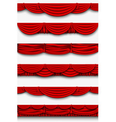 red silk set Pelmet and silk red curtains vector image