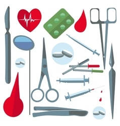 Set isolated medical items tools scissors enema vector image vector image