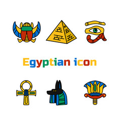Set of design colored egypt travel icons culture vector