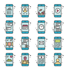 Smart phone functions and apps icon set in vector