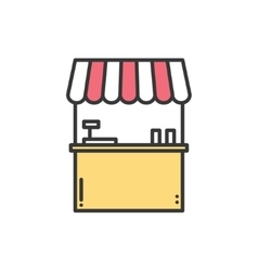 Street food retail thin line icons set food kiosk vector