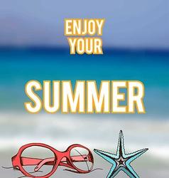summer retro hand drawn design card vector image vector image