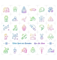 Winter sport gradient outline icons Seasonal vector image